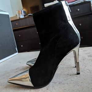 Balmain Suede Booties Black and Silver